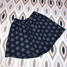 Lucky Brand XS Extra Small Blue Woodstamp Flirty Skirt Hidden Zipper Pockets