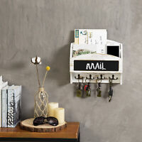 MyGift 2 Slot Whitewashed Wood Mail Sorter Wall Rack with Chalkboard and 8 Hooks
