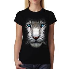 White Tiger Face Blue Eyes Animals Women T-shirt S-3XL New