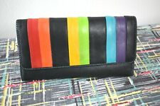 MYWALIT ~ Rainbow / Pride LGBTQIA ~ LG Tri-Fold Wallet ~ Leather ~ Bright!