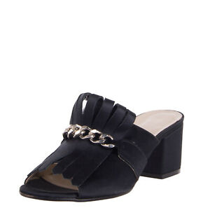 RRP €175 LUCA VALENTINI Satin Mule Sandals EU 39 UK 6 US 9 Fringe Made in Italy