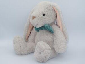 """Dan Dee Plush Bunny Rabbit 16"""" Gray Stuffed Animal Blue Bowtie Bow Tie Lop Ear"""