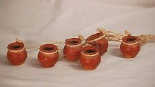 New Mexico Terra Cotta Clay 6 Mini Hanging Pots Home Kitchen Patio Shadowbox Dcr