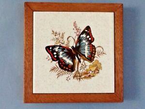 A Lovely Butterfly Tile/ Trivet w/ Wood Frame 'Creations By Deede' Seattle, WA
