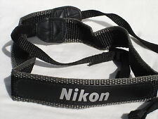 "NIKON CAMERA NECK STRAP Black Grey White 1 1/16"" Wide #00227"
