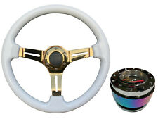 White Gold TS Steering Wheel + Neo Quick Release boss NCh for RENAULT