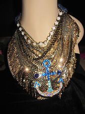 Betsey Johnson ship shape mesh and large anchor statement necklace
