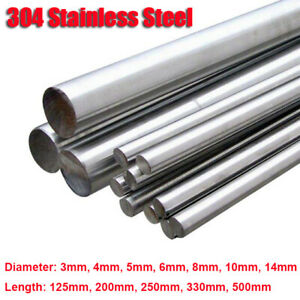 304 Stainless Steel Round Metal Bar Solid Rod Dia 3mm~14mm Length 125mm~500mm