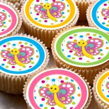 24 Edible cupcake fairy cake toppers decorations ND3 Butterflies colourful