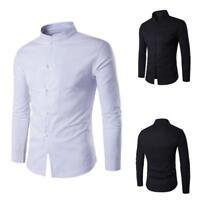 Chinese Kung Fu Shirt Mens Long Sleeve Blouse Slim Plain T-shirt Coat Tee Jacket