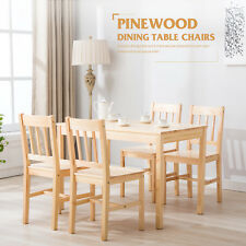 Modern Pine Wood Dining Table and 4 Chairs Room Set Kitchen Breakfast Furniture