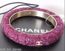 CHANEL 3 Gold CC Logos on Tweed Bangle Cuff Bracelet Size Medium NWT