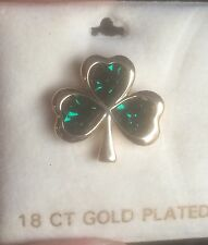 Soldor Sol D'or Shamrock Pin Or Small Broach 18ct Gold Plated IRELAND