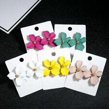 2019 New Fashion Boho Painting Big Flowers Ear Stud Earrings Women Charm Jewelry