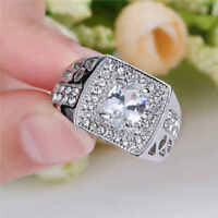 Jewelry Size 9 White Sapphire Women 10kt White Gold Filled Wedding Ring Gift