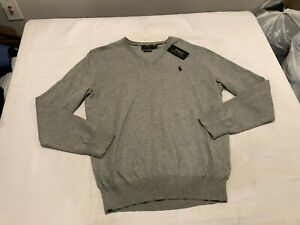 NWT $98.50 Polo Ralph Lauren Mens Pima Cotton V Neck Sweater Grey Size MEDIUM