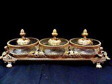 ORMOLU MATSON GOLD FILIGREE BEVELED GLASS VITRINE/BOUDOIR/DISPLAY BOX SET/MIRROR
