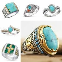 Magnificent 925 Silver Turquoise Ring Women Men Wedding Jewelry Gift Sz6-10
