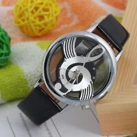 Salable Unisex Geneva Note Music Notation Watche Leather Brand Quartz Wristwatch