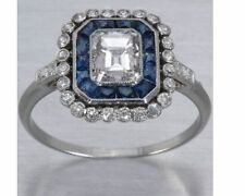 3.5 Ct Vintage CZ Emerald Cut & Sapphire Engagement Ring 925 Sterling Silver