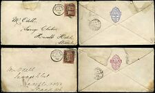 PENNY RED PERFINS WILLING 1878-79 ENVELOPES...ADVERTISING FLAPS ENAMELLING
