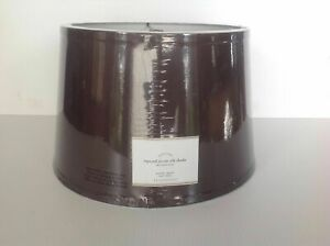 POTTERY BARN SILK TAPERED DRUM LAMP SHADE MEDIUM ESPRESSO NEW WITH TAGS