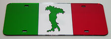 ITALY FLAG ITALIAN BOOT COUNTRY MIRRORED CHROME LASER CUT LICENSE PLATE INLAID