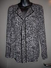 M&Co black/white/grey chiffon animal print l/s pocket dipped hem top size 10