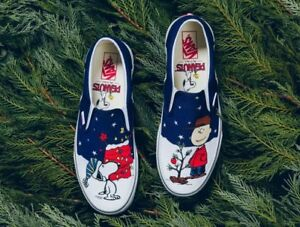 Vans Classic Slip On Peanuts Charlie Brown Christmas Tree Shoes Toddler Size 4.5