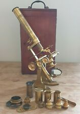VERY FINE ANTIQUE CASED BRASS POLARISING MICROSCOPE BY EVANS & WORMALL C.1880