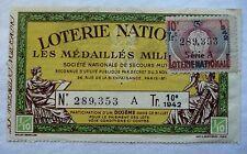 ANCIEN BILLET DE LOTERIE NATIONALE 1942 / MEDAILLES MILITAIRES