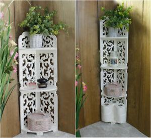 3/4 Tier White Wooden Corner Shelf Units Filigree Storage Display Home Decor
