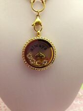 S/STEEL FRIENDS FLOATING GOLD LOCKET RHINESTONE  NECKLACE & CHARMS AU SELLER