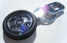 Chrome Metal CarSpinning  Wheel Black Rubber Tyre Keyring with Clip BRAND NEW