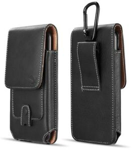 For OnePlus 6T - Black Vertical Leather Card Pocket Pouch Buckle Case Holster