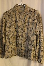 Chico's Long Sleeve Blouse, 70% Silk/30% Linen, Embroided, Size 2 (L/XL)