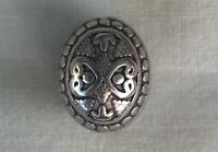 Tibetan Style Silver Bead with Flowers (Oval Shape)