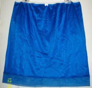 ROYAL BLUE Nylon Tricot SLIP & PANTY  Sheer Hem  30-44 Waist * Length 21 L XL