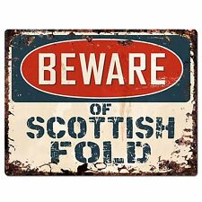 Pp1546 Beware of Scottish Fold Plate Rustic Chic Sign Home Store Decor Gift