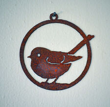 "Ornament Rusty Metal Fat Chickadee Bird Silhouette Accent. 3"" inch"