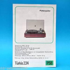 Türkis 224 Plattenspieler DDR 1976   Prospekt Werbung Werbeblatt DEWAG P58 C