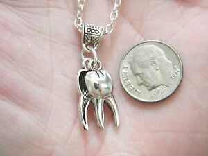 "SILVER TOOTH Necklace Dentist Teeth Molar Charm 22"" Chain Dental Hygienist NEW!"