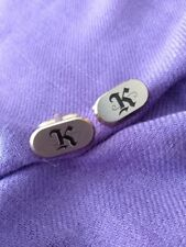 "VINTAGE CUFFLINKS DESIGNER HICKOK GOLD TONE/BRUSHED METAL FACE initial ""K"""