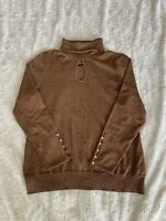 Lane Bryant Copper Orange Gold Glitter Turtle Neck Keyhole Sweater Blouse Fall
