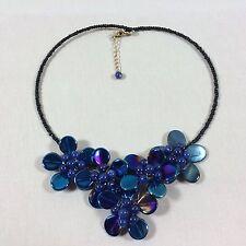 Choker Schwarz Vintage Kette Blaue Blumen Hippie Trend Statementkette Collier