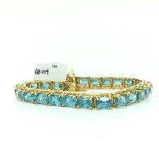 14k solid yellow gold emerald shape blue topaz tennis bracelet