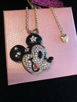 Betsey Johnson Necklace Mickey Mouse Ears Black Gold Crystal Gift Box & Bag