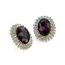 color oro viola con fiori di cristallo orecchini a bottone diamante festa 30703