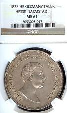 Germany Deutschland Hesse-Darmstadt 1825 Taler Coin NGC MS 61 F.ST Thaler RARE