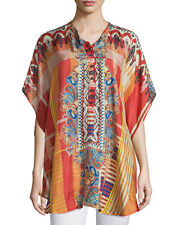 $218 NWT Johnny Was Perro 100% Silk Long Poncho Tunic Top Shirt XL-1X
